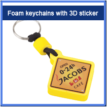 Foam keychains with 3D sticker